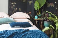 Silk Velvet-Quilted Throw Blanket in Cenote