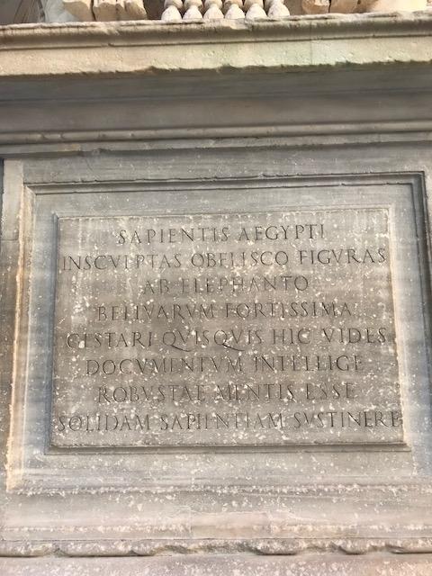 """Inscription, """"Pulcino della Minerva,"""" or """"Minerva's Chick"""""""