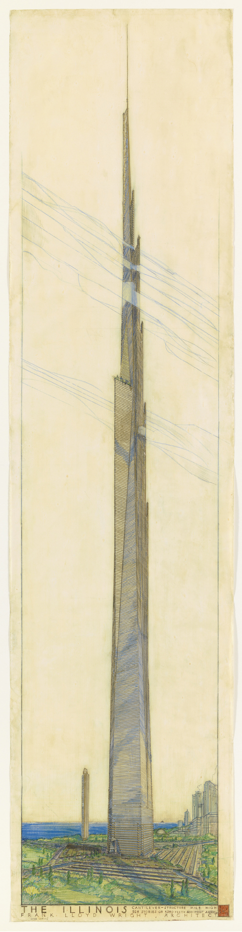 Frank Lloyd Wright (American, 1867–1959). The Mile-High Illinois, Chicago. Project, 1956.
