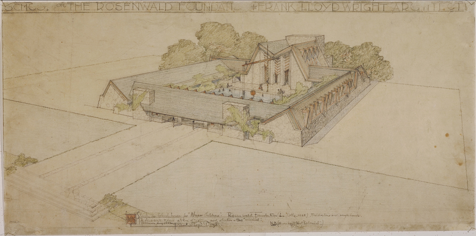 Frank Lloyd Wright (American, 1867–1959). Rosenwald Foundation School, Hampton Normal and Agricultural Institute, Virginia. Project, 1928.