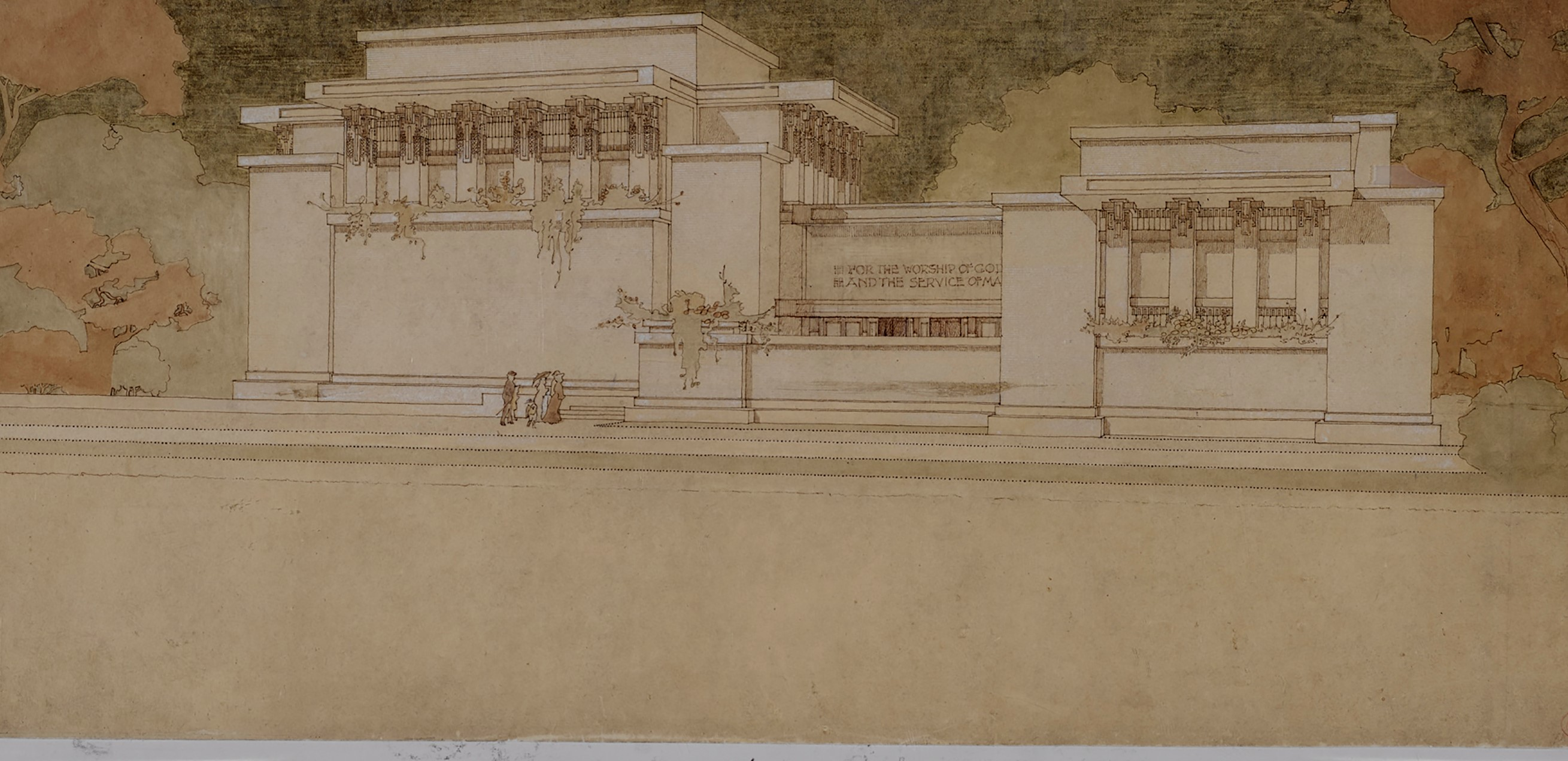 Frank Lloyd Wright (American, 1867–1959). Unity Temple, Oak Park, Illinois. 1905–08. Perspective from the west