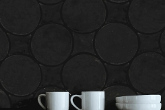 Countertop backsplash: Circles, diamonds, flemish black square