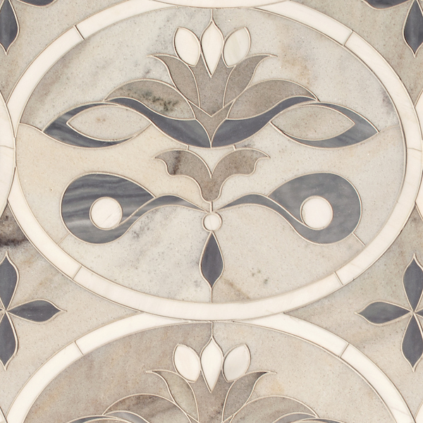 Beatrice Grandiose, a waterjet stone mosaic, shown in honed Angora, Cashmere, Dolomite, and Greystoke, was designed by Caroline Beaupère for New Ravenna.