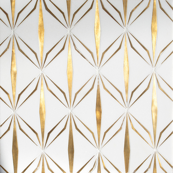 Èze, a waterjet cut stone mosaic, shown in polished Thassos and brushed brass, was designed by Caroline Beaupère for New Ravenna.