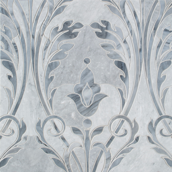 Monaco Floral, a waterjet cut stone mosaic, shown in honed Bardiglio light and polished Greystoke, is a design by Caroline Beaupère for New Ravenna.