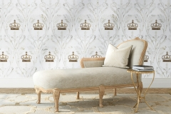 Monaco, a waterjet cut stone mosaic, shown in polished Thassos, Calacatta Gold, and Brass, is a part ofthe Liliane™ Collection by Caroline Beaupère for New Ravenna.