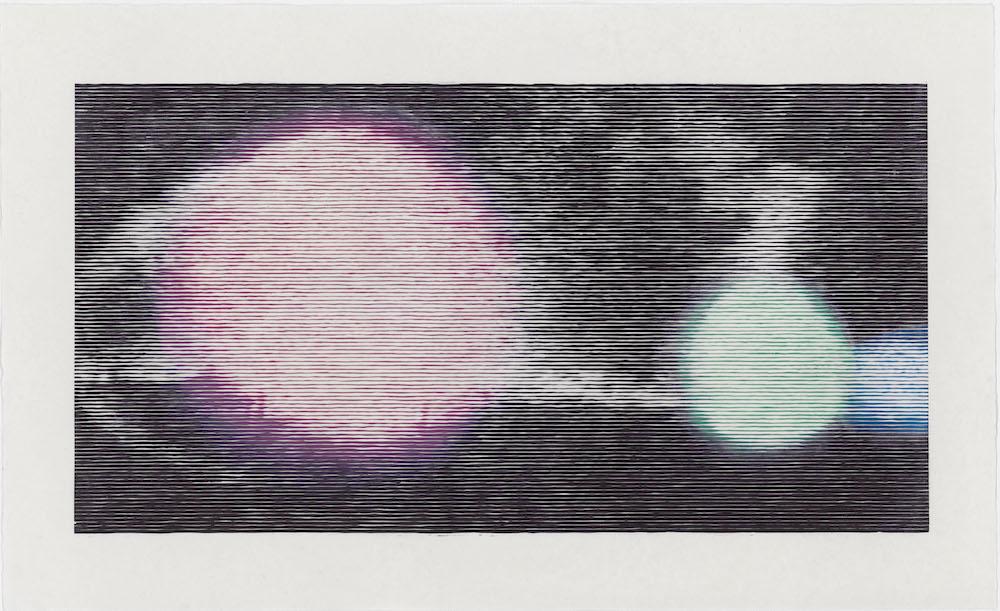 Cosmic Fruits – Kiwi, 2016 Woodcut on Kozo paper