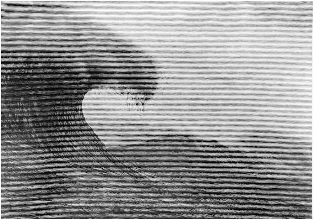 The Wave, 2017 Woodcut on Kozo paper