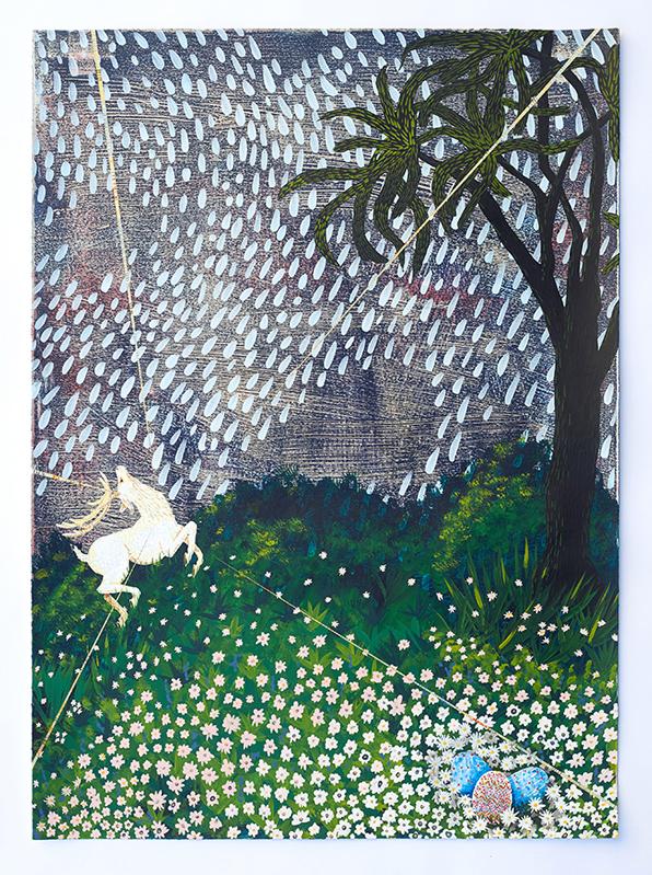 • Lorenzo Hurtado Segovia — Pushing Daisies (Resurrection Painting) 2017, Acrylic on paper, 35 x 25 inches