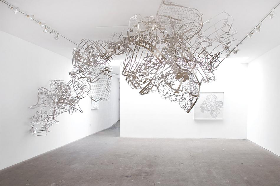 """• Margaret Griffith — """"Spout"""", 2014, aluminum, approx. 9' x 7' x 18',"""