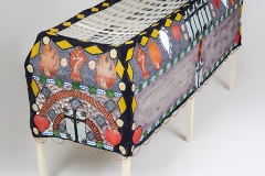 • Lorenzo Hurtado Segovia — Vida, pasión y muerte 2017, Acrylic, glass beads and metallic floss on muslin, 27 x 85 x 28 inches