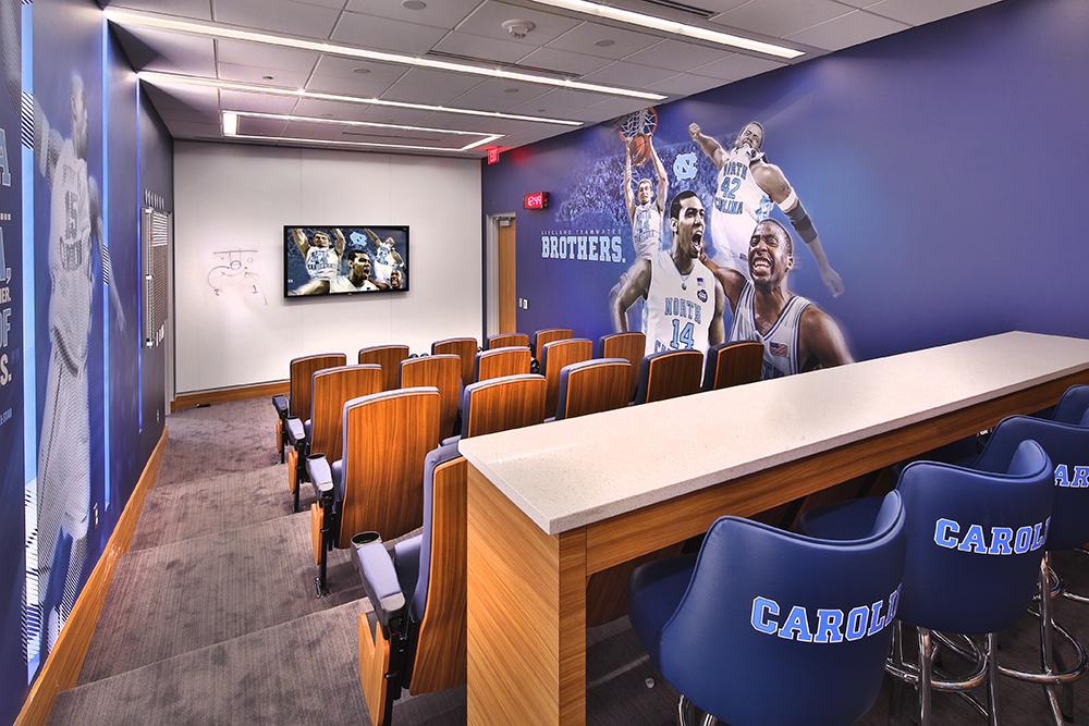 Dean Smith Center, Men's Locker Room, HOK; Photo by Jim Sink