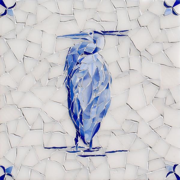 Egret Delft glass mosaic