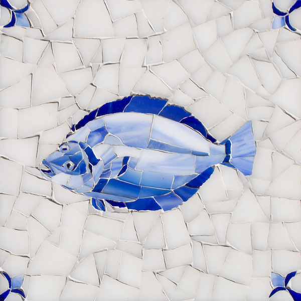 Fish Delft glass mosaic