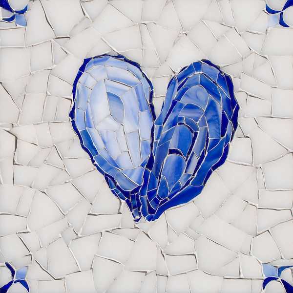 Oyster Delft glass mosaic