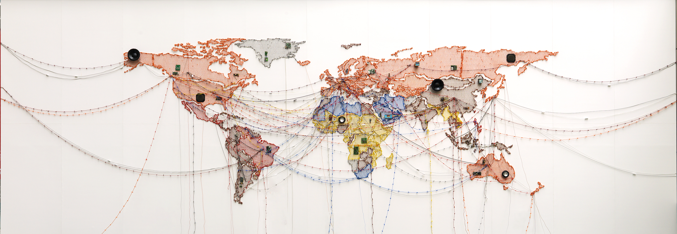 """Displaced,"" Woven Chronicle, Reena Kallat, 2015"