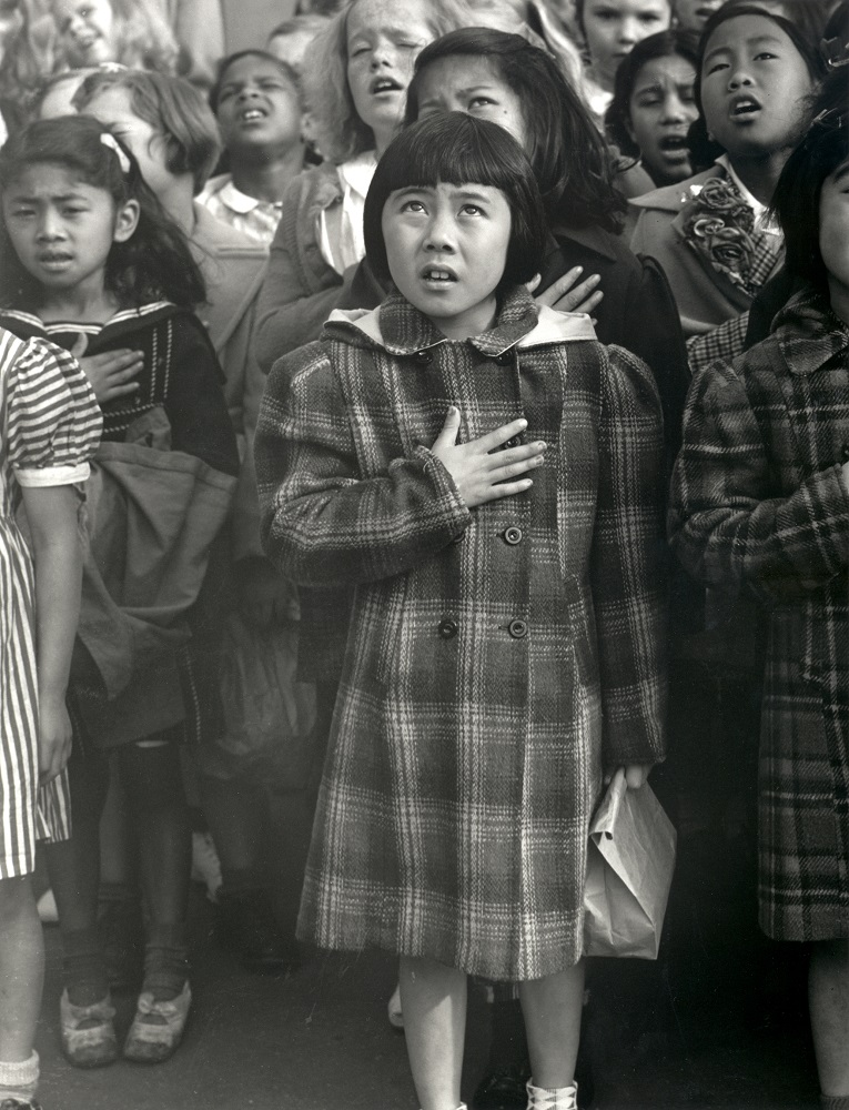 Dorothea Lange. One Nation Indivisible, San Francisco, 1942. Gelatin silver print. © The Dorothea Lange Collection, the Oakland Museum of California, City of Oakland, Gift of Paul S. Taylor