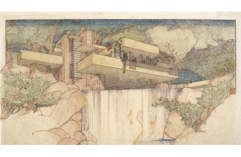 Frank Lloyd Wright and John H Howe, Fallingwater, 1937, pencil and coloured pencil on tracing paper. Picture credit: The Frank Lloyd Wright Fdn, AZ / Art Resource, NY/Scala, Florence. © ARS, NY and DACS, London (page 216)