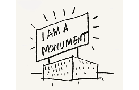 Robert Venturi and Denise Scott Brown, I am a Monument, 1972, ink on paper. Picture credit: Architectural Archives of the University of Pennsylvania | Venturi, Scott Brown Collection (225) (page 237)