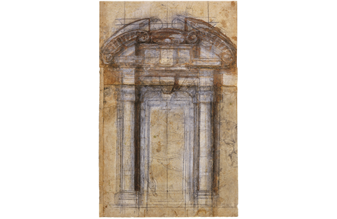 Michelangelo Buonarroti, Study for Porta Pia, 1560, pencil, pen and watercolour on brown paper. Picture credit: © 2018. Photo Scala, Florence (page 184)