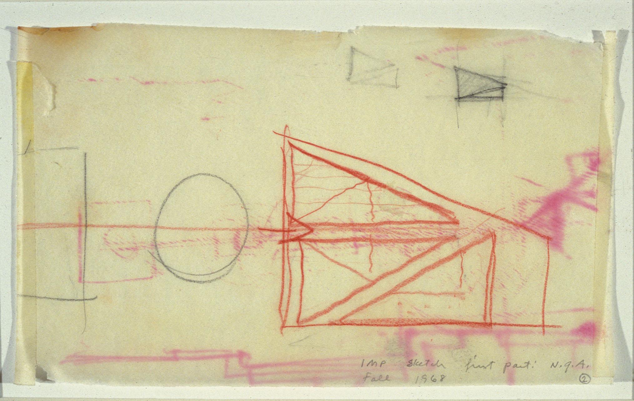 I. M. Pei, Design sketch for the East Building, fall 1968.