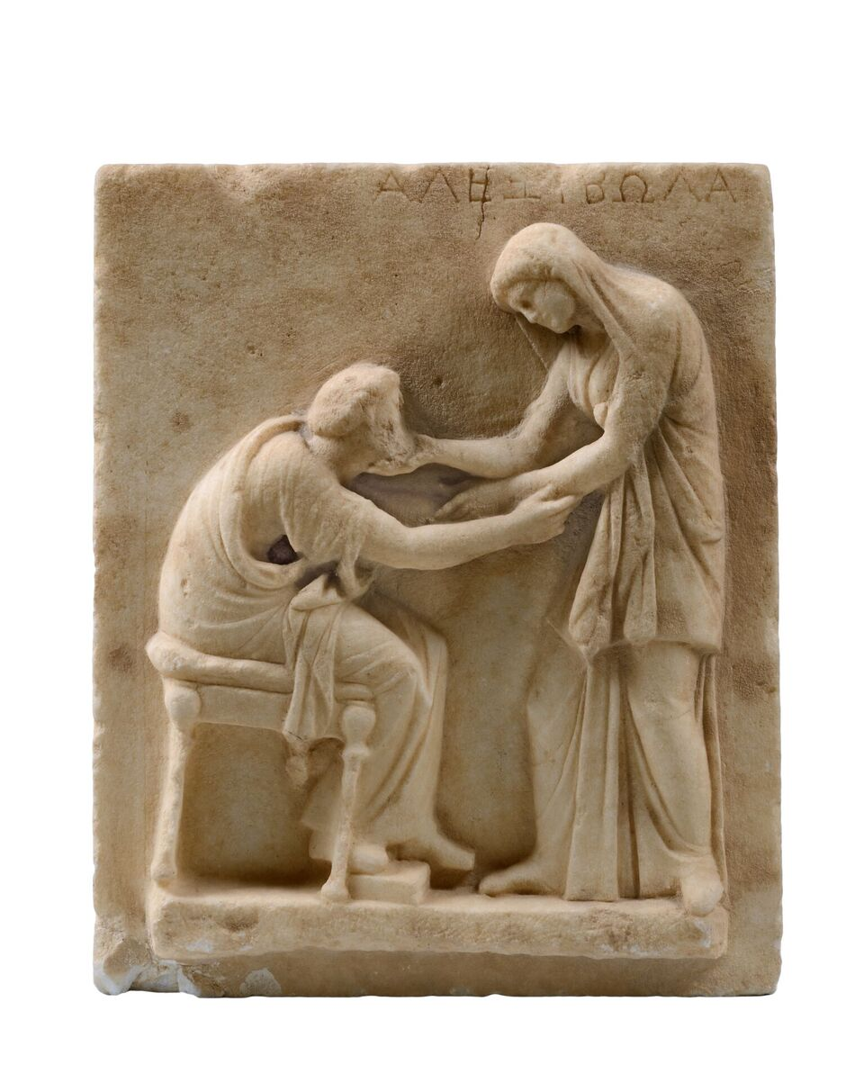 Funerary Stele with Scene of Greeting - Archaeological Museum of Thera, 321 © Hellenic Ministry of Culture and Sports–Archaeological Receipts Fund, Photography Kostas Xenikakis