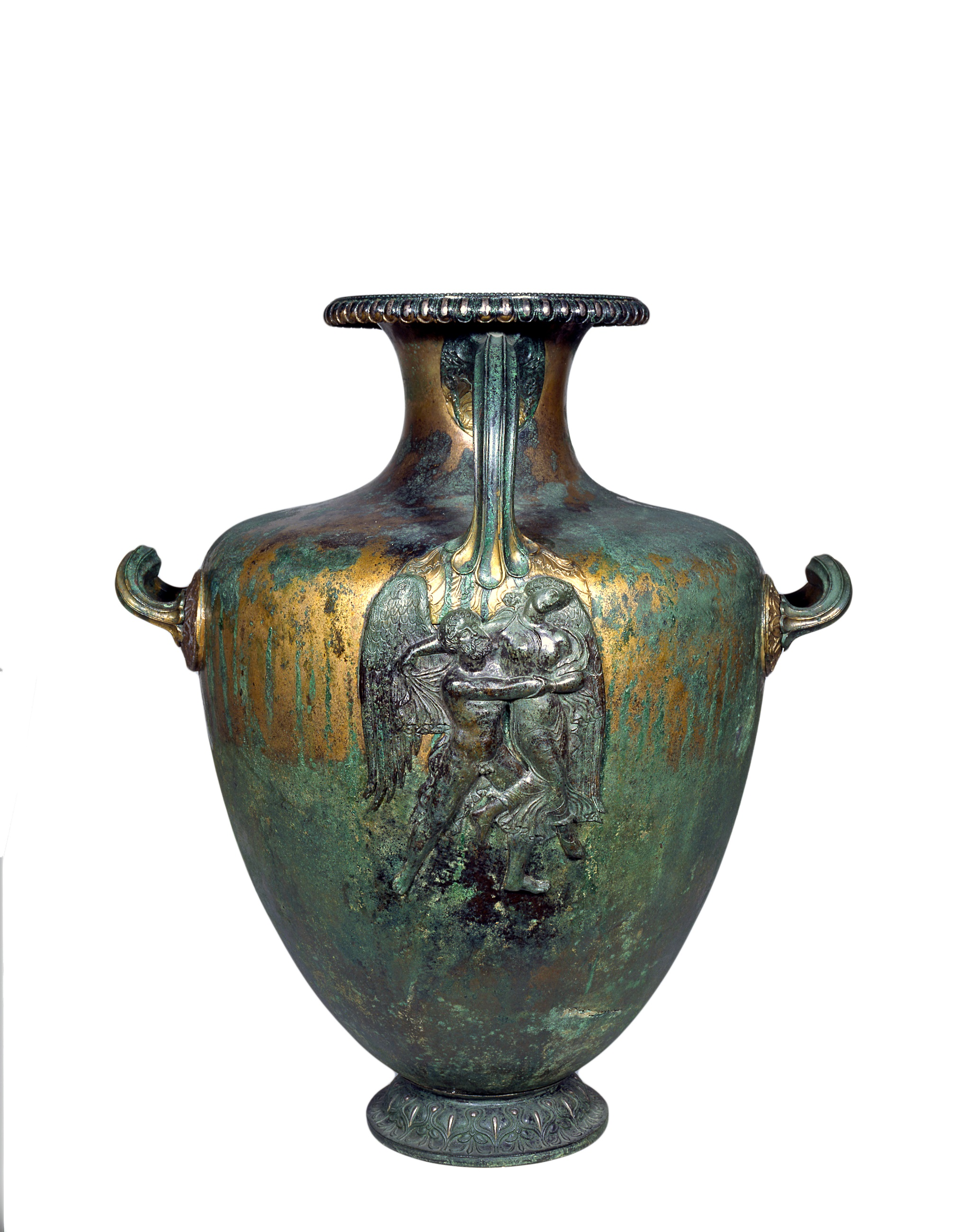Copper Alloy Hydria with inlaid silver, Representing Boreas Abducting Oreithya – ca 370 BC, Pharsalos, Thessaly. Athens, National Archaeological Museum X18775. Photography Kostas Xenikakis