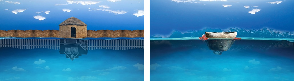 Fatimah Tuggar, Home's Horizons, 2019 Computer montage diptych (inkjet on vinyl) 40 x 23 in., 40 x 23 in. (101.6 x 58.4 cm, 101.6 x 58.4 cm) Artwork Credit: Courtesy of Fatimah Tuggar and BintaZarah Studios