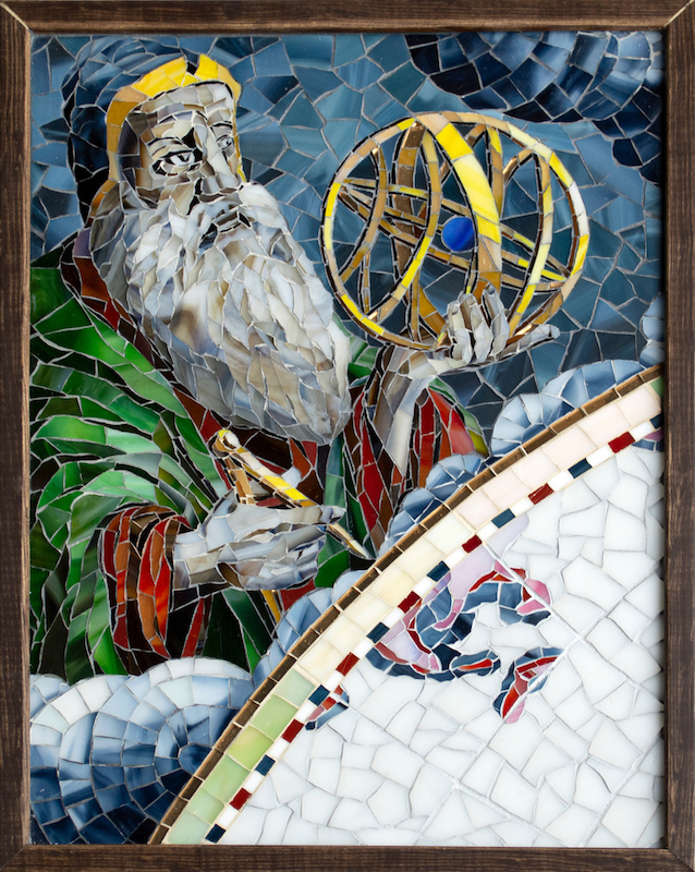 "Bobby Jones, Master Mosaicist and Designer, ""The Astronomer"" 12.5"" x 17"" with frame"
