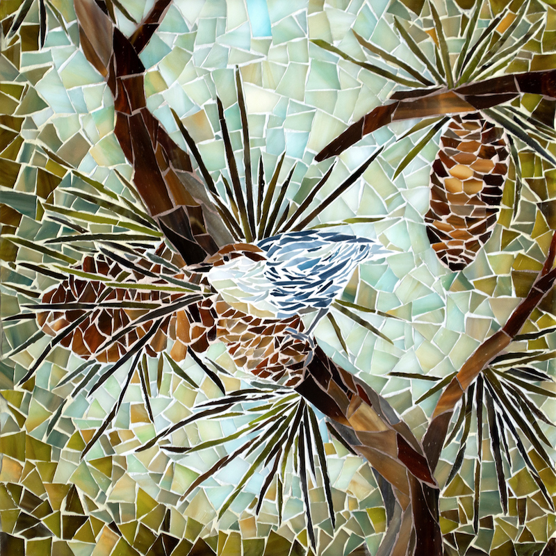 "Marcie McComb, Master Mosaicist and Designer, ""Brown-Headed Nuthatch"" 12"" x 12"