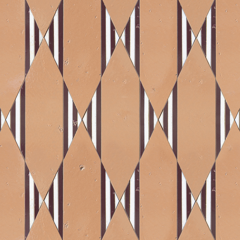 Nezbah, a waterjet stone mosaic, shown in polished Cloud Nine with Tulip and Snapdragon Glazed Basalto.