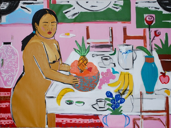 Monica Kim Garza, Table Setter, 2016/2017, acrylic on canvas, 36 x 48 in., Courtesy of the artist