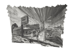 Mark Lewis, Peoria Avenue #7, 2011, graphite and paper collage, 60 x 84 in., The University of Tulsa Collection