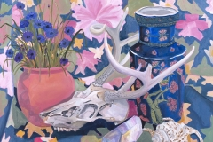 Deer Skull with Blue Vase