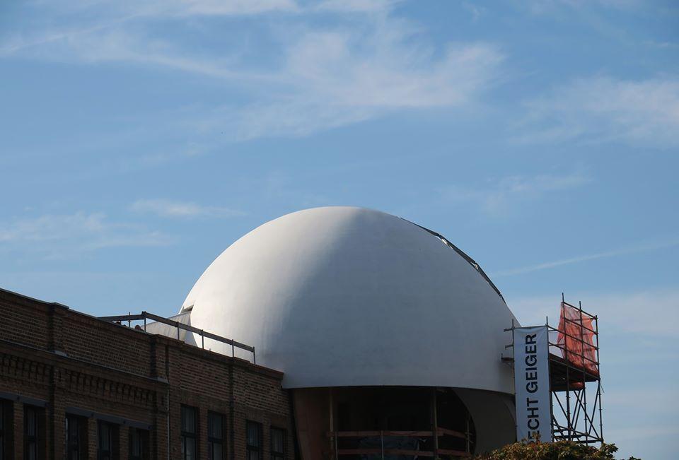 Niemeyer Sphere by architect Oscar Niemeyer, at Techne Sphere Leipzig, 2019