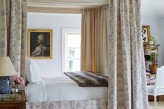 The four-poster bed is dressed with a Chinese toile fabric by Bennison, the portrait is of Beatrice Cenci after one by Guido Reni, and the roses are from the garden. I could sleep for a thousand years in this room if there was ever time.