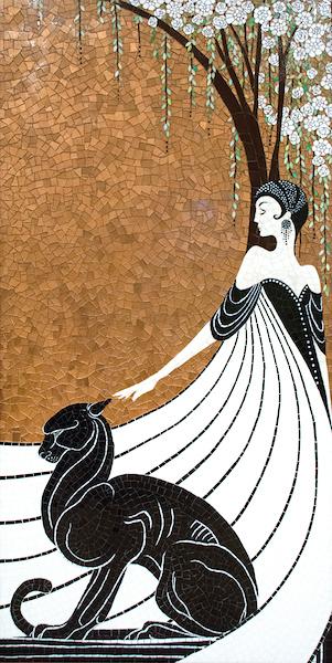 La Panthère Noire jewel glass mosaic