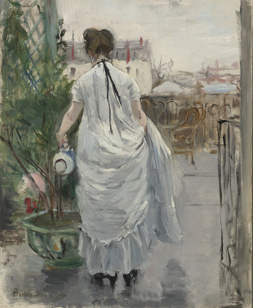 Berthe Morisot (French, 1841–1895). Young Woman Watering a Shrub, 1876. Oil on canvas, 15 3/4 x 12 1/2 in. Virginia Museum of Fine Arts, Richmond, Collection of Mr. and Mrs. Paul Mellon, 83.40. Image © Virginia Museum of Fine Arts. Photo: Katherine Wetzel