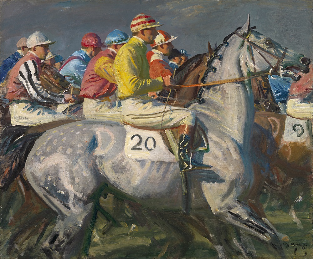 Sir Alfred Munnings, P. R. A. (British, 1878–1959). Linin' 'em Up, Newmarket, ca. 1940–53. Oil on panel, 19 3/4 x 23 1/2 in. Virginia Museum of Fine Arts, Richmond, Paul Mellon Collection, 96.24. Image © Virginia Museum of Fine Arts. Photo: David Stover