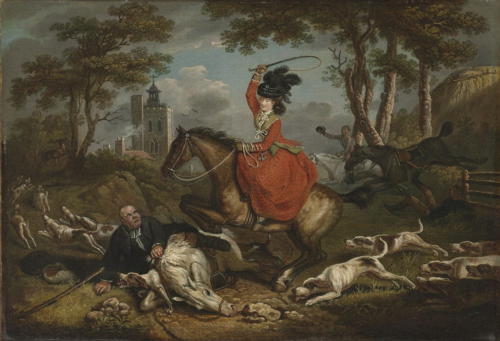 John Collett (British, ca. 1725–1780). The Joys of the Chase or The Rising Woman and the Falling Man, 1780. Oil on canvas, 16 x 23 1/2 in. Virginia Museum of Fine Arts, Richmond, Paul Mellon Collection, 99.62. Image © Virginia Museum of Fine Arts. Photo: Travis Fullerton
