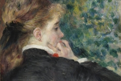 Pierre-Auguste Renoir (French, 1841–1919). Pensive, 1875. Oil on paper on canvas, 18 1/8 x 15 in. Virginia Museum of Fine Arts, Richmond, Collection of Mr. and Mrs. Paul Mellon, 83.47. Image © Virginia Museum of Fine Arts. Photo: Katherine Wetzel