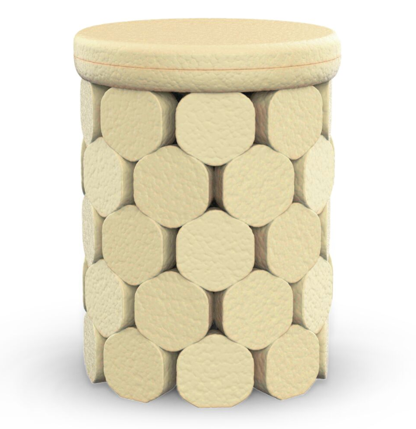 Grown Materials - Rendering of a bio-fabricated stool conceived by Humanscale's Paul Sukphisit with Ecovative using mycelium mushroom and agricultural waste. © Humanscale Image