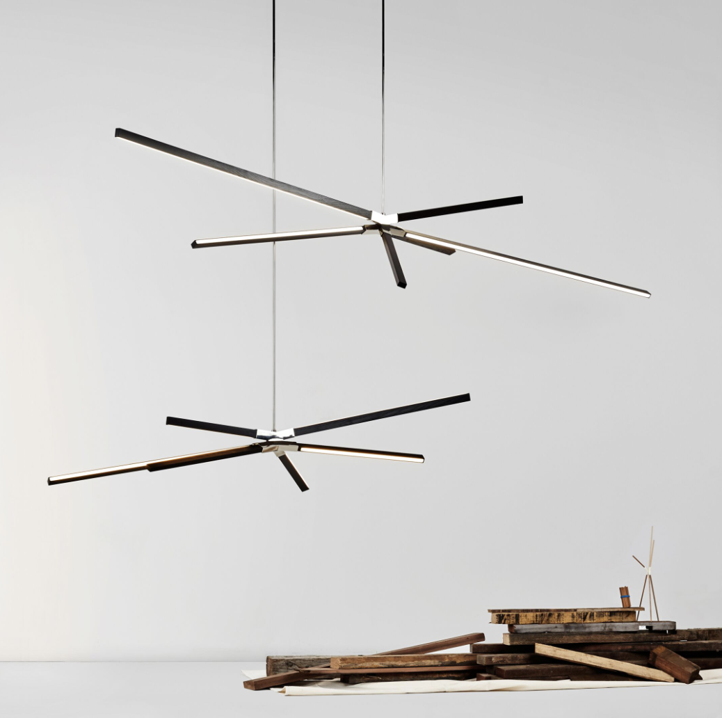 Stickbulb's Skybang pendant LED light fixtures incorporate reclaimed wood from demolished water towers to reduce materials impacts and create an alternative materials stream for new products.. © Stickbulb