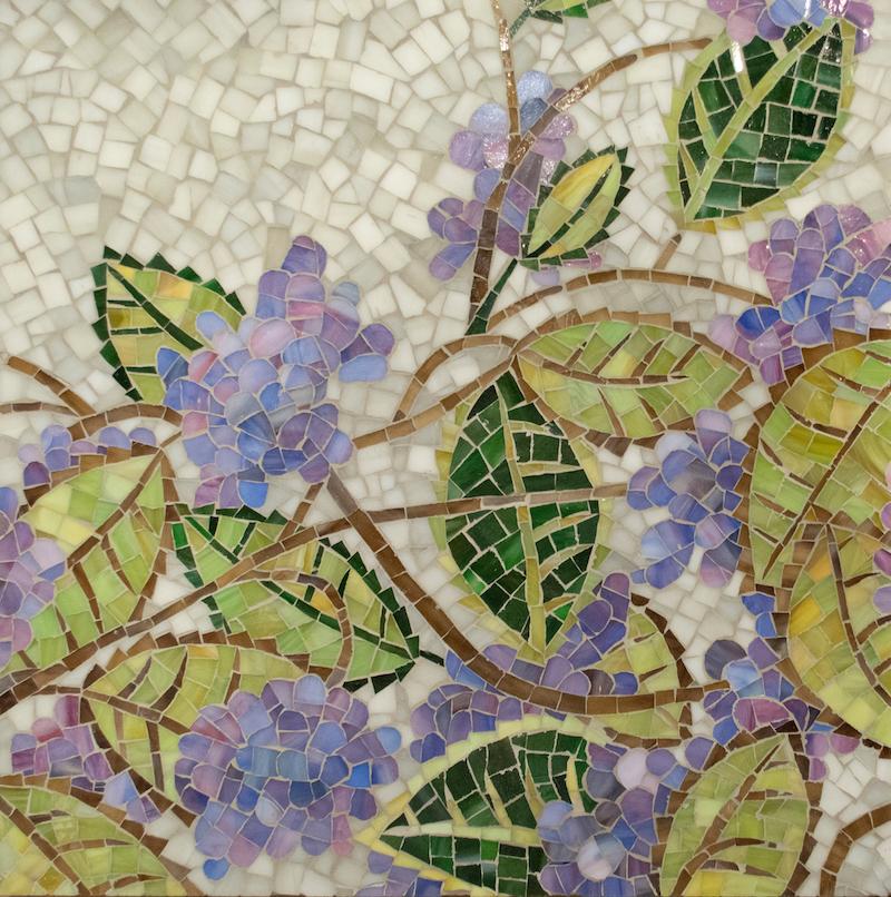 Hydrangea glass mosaic