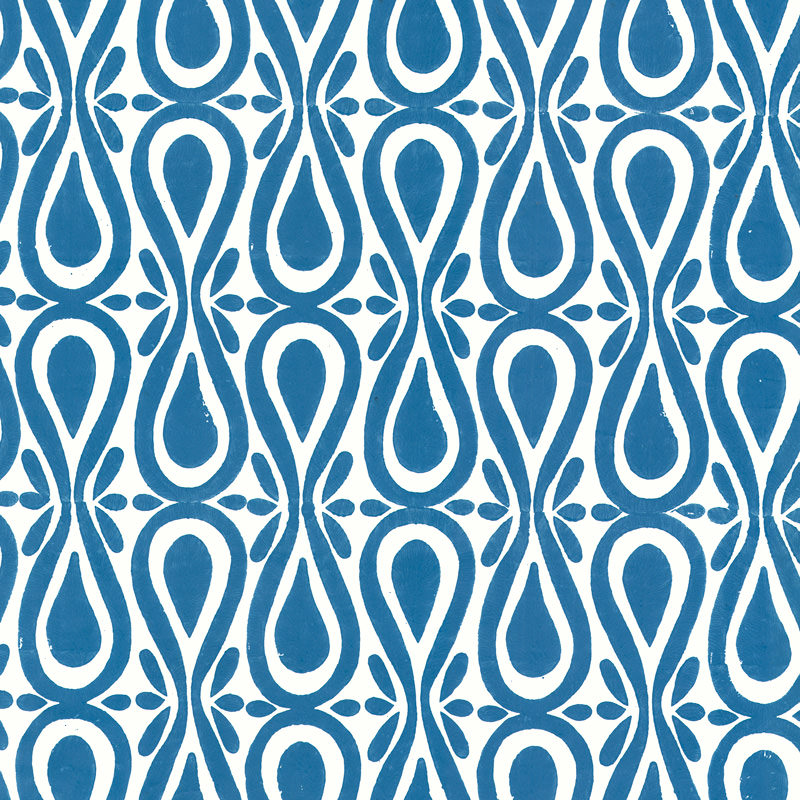 New Blue Colorways for Block Print Wallpaper by Sarah & Ruby