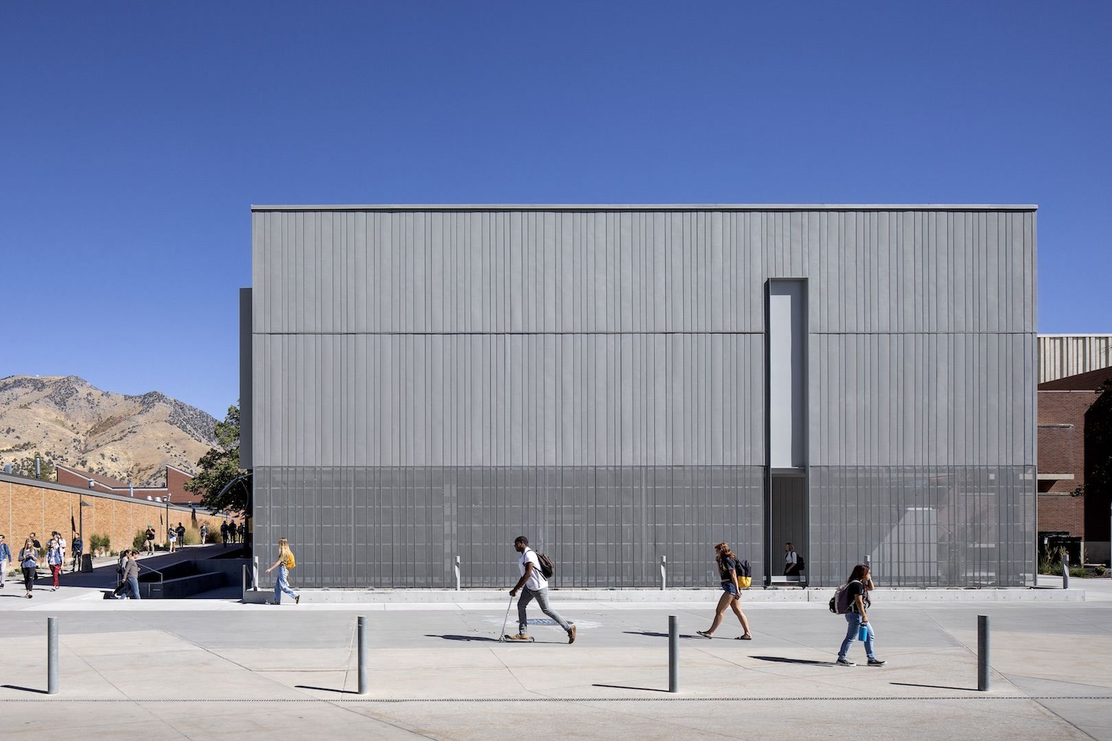 Nora Eccles Harrison Museum of Art. 2018 building renovation and expansion. Day time exterior.