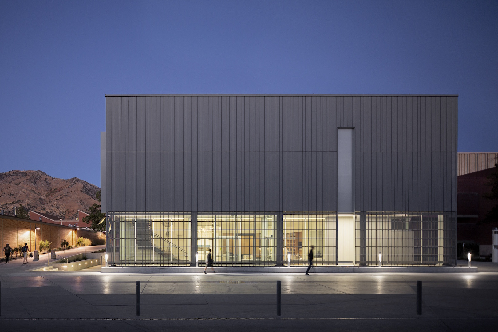 Nora Eccles Harrison Museum of Art. 2018 building renovation and expansion. Night time exterior.