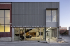 Nora Eccles Harrison Museum of Art. 2018 building renovation and expansion. Main entrance.