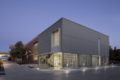 Nora Eccles Harrison Museum of Art. 2018 building renovation and expansion. Exterior at dusk