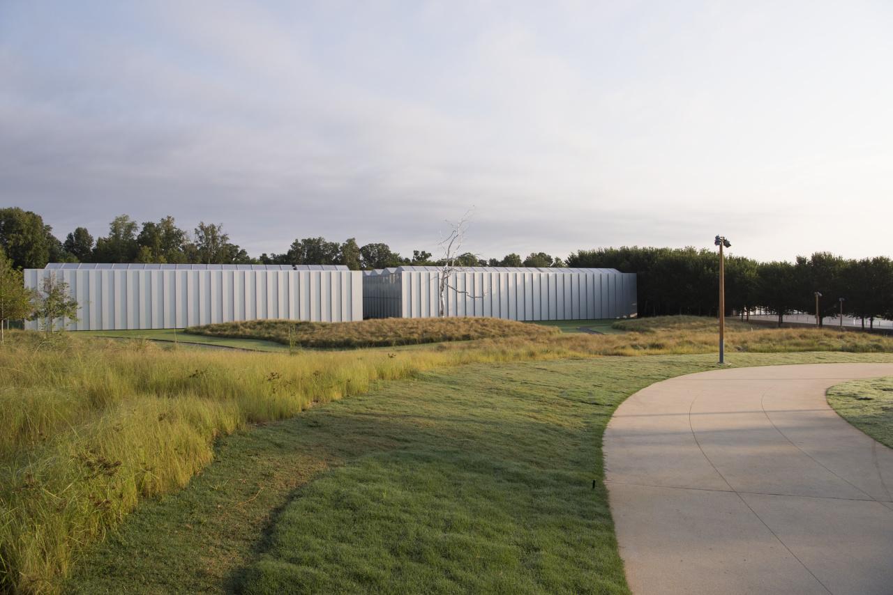 Walkway to NCMA West Building; Askew by Roxy Paine